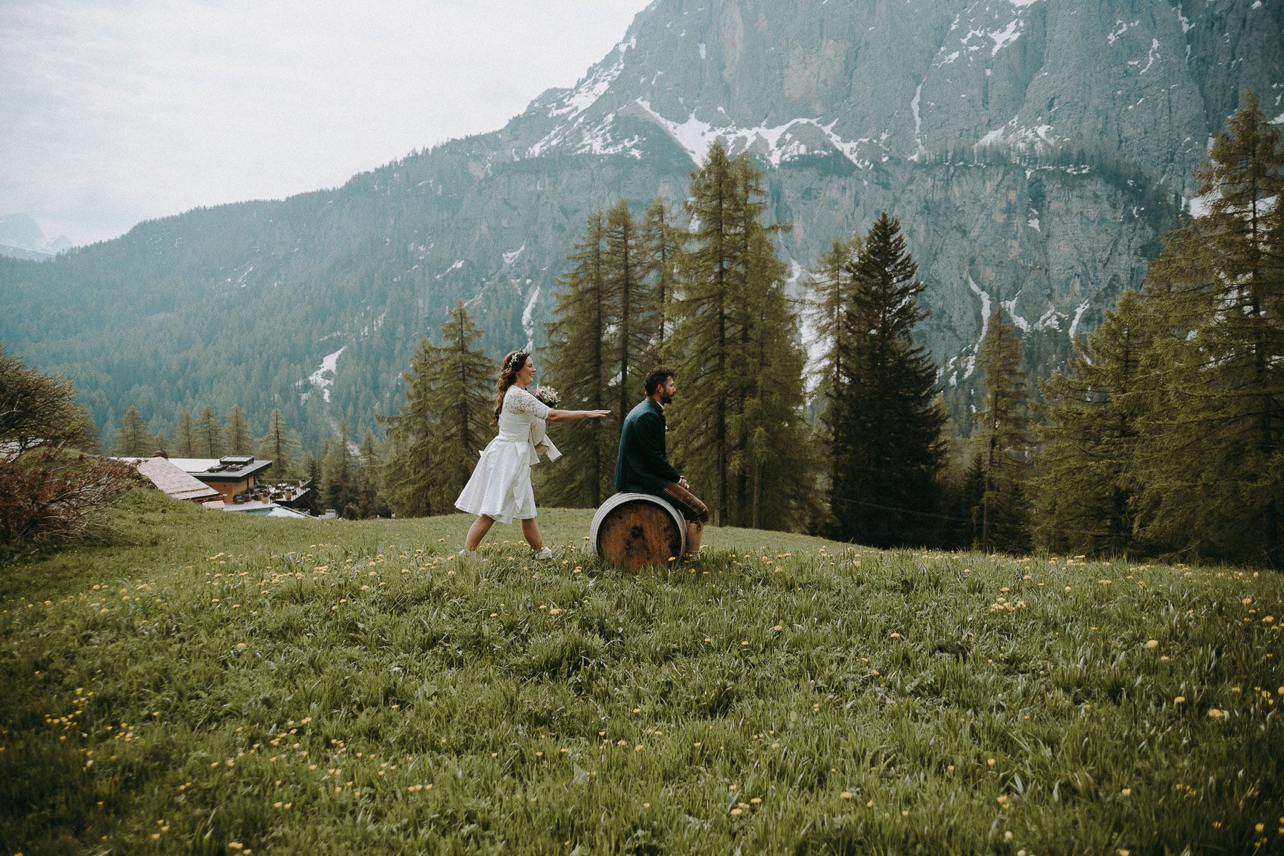 Couple Having Their First Look At Their Elopement Wedding In The Dolomites, Colfosco